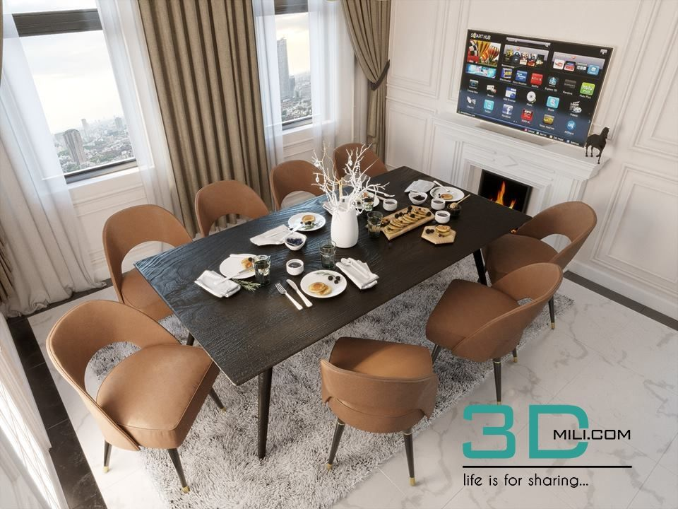 06 Kitchen And Dining Room 3dmax Free Download