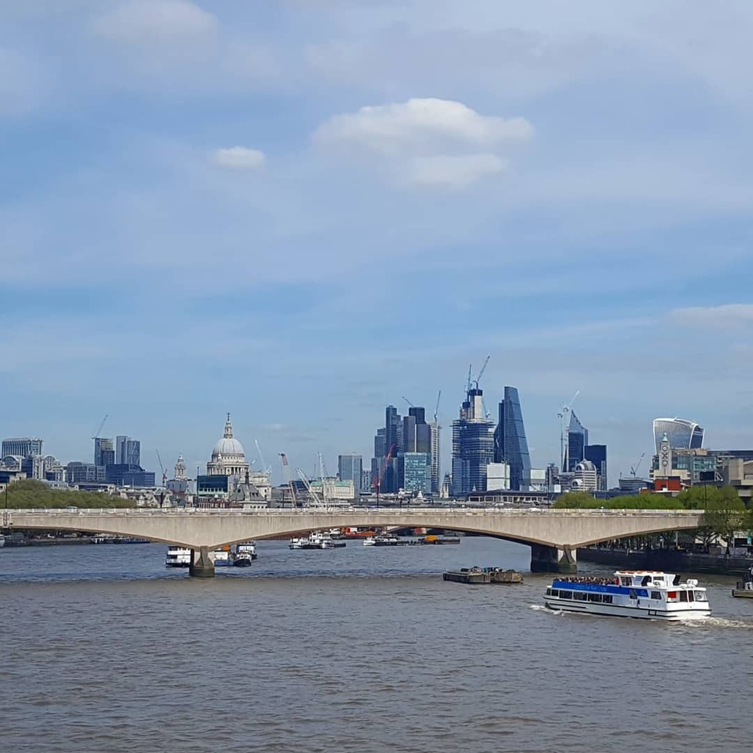 Stunning View From Waterloo Bridge On The City Of London