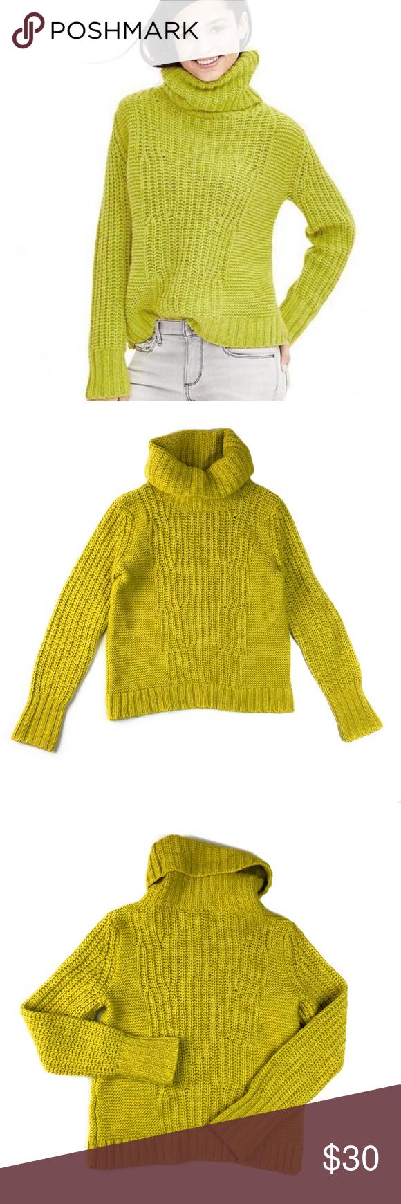 74e0d3278b384 Banana Republic Chartreuse Turtleneck Sweater Banana Republic style 722621