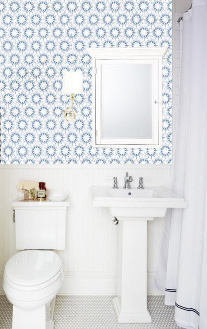 Removable Wallpaper Made In Usa Peel Stick Self Adhesive Etsy Small Bathroom Wallpaper Bathroom Wallpaper Small Bathroom