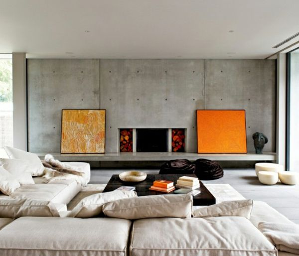 orange Akzente Sichtbeton Wand Polstermöbel interior Pinterest