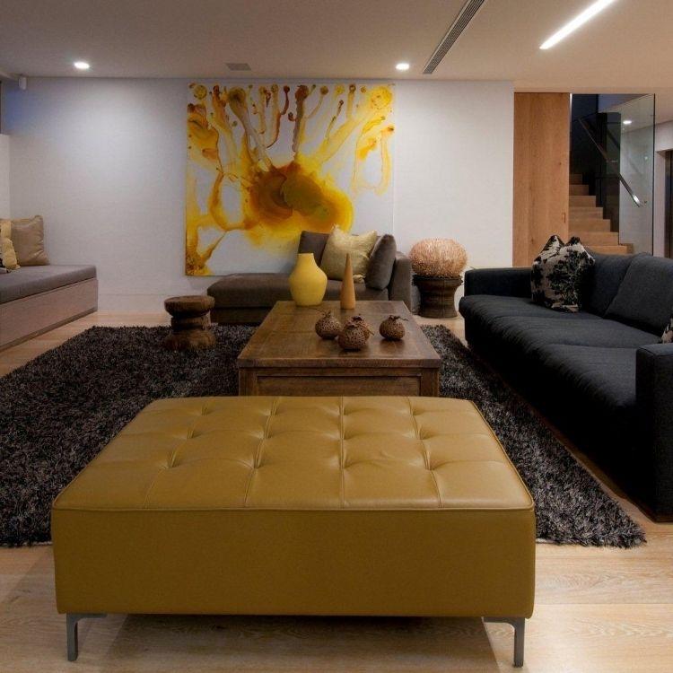 Feng Shui Wohnzimmer einrichten -offen-raum-braun-senfgelb-bild - feng shui wohnzimmer