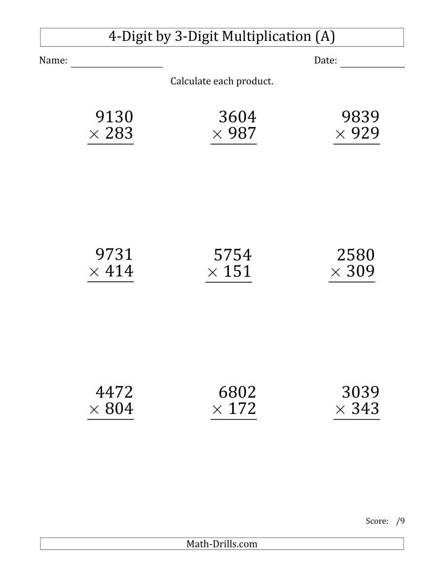 The Multiplying 4 Digit By 3 Digit Numbers Large Print A Math Worksheet From The Long Multiplication Multiplication Worksheets Learning Math Math Worksheet [ 1165 x 900 Pixel ]