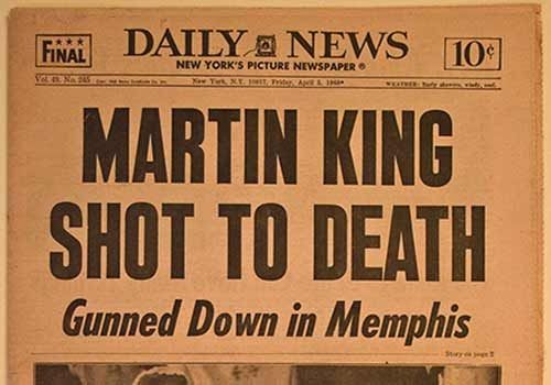 The assassination of the American civil liberties leader Martin Luther King