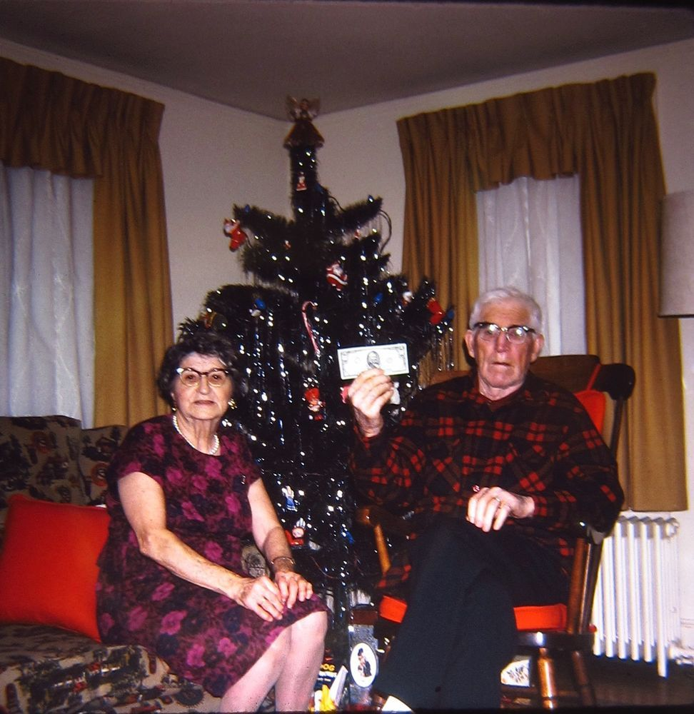 1960s christmas tree old man woman gifts money decorations vtg color slide