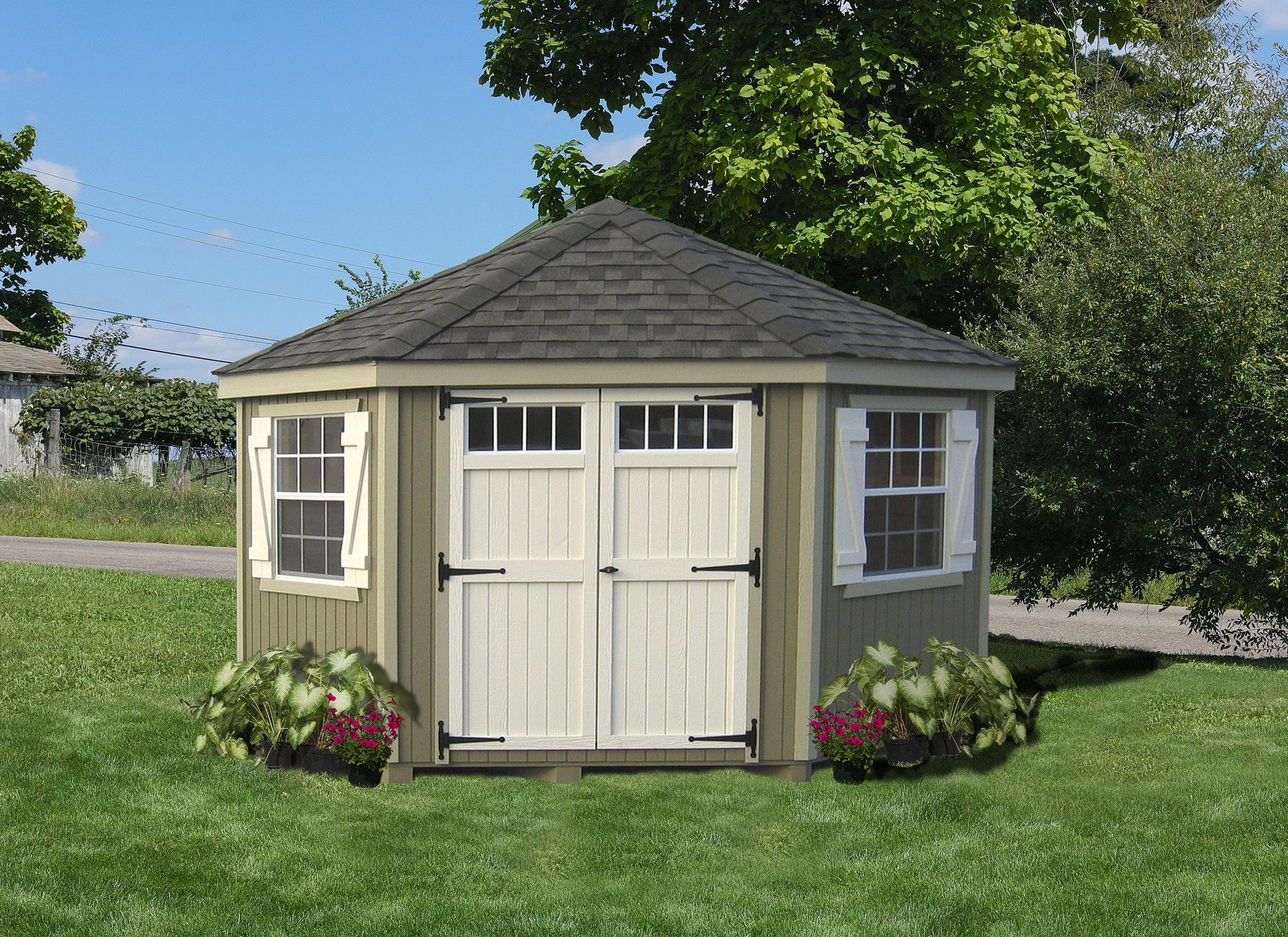 Little Cottage 5 Sided Colonial Wooden Shed 10x10 Ft Panelized Diy Kit Ready To Paint Shed Landscaping Corner Sheds Sheds For Sale