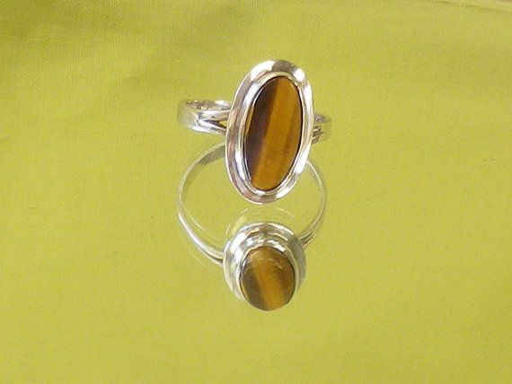 Beautiful Tigers Eye Sterling Silver Ring by EternalElementsEtsy