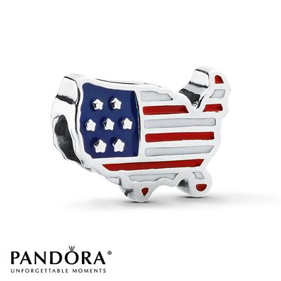 Jared Pandora USA Charm Red White Blue Enamel Sterling Silver