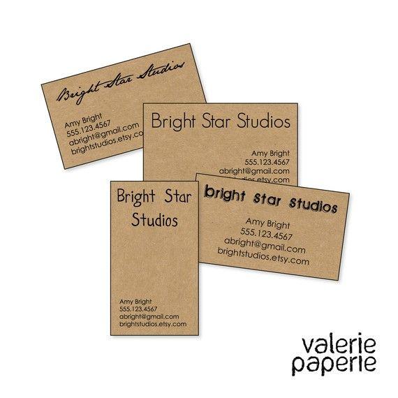 50 100 Or 200 Super Simple Kraft Business Cards Designed And Printed Via Valerie Paperie On Kraft Business Cards Printing Business Cards Business Card Design