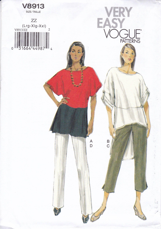 FREE US SHIP Vogue 8913 Drop Shoulder Blouse Tunic Pants Capris back ...