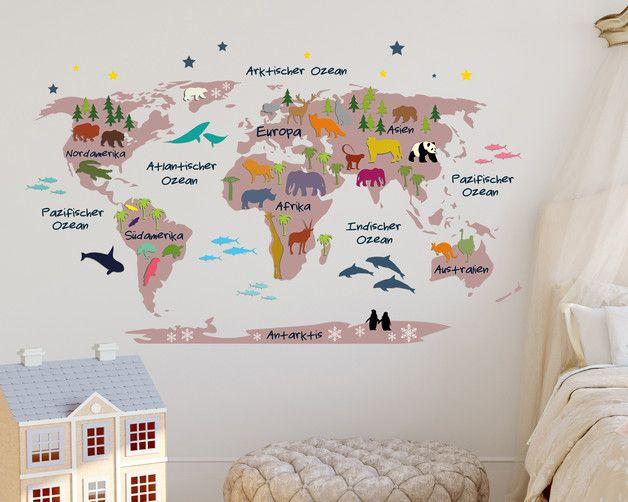 Br Rosa Weltkarte Fur Das Kinderzimmer Br Masse 110 X 68 Cm Breite X Hohe Farbe Der Karte Weltkarte Fur Kinder Weltraum Kinderzimmer Kinder Zimmer