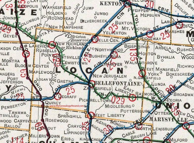 Logan County Ohio 1901 Map Bellefontaine West Liberty Degraff Quincy Rushsylvania Belle Center Russells Point La Bellefontaine Logan County Ohio Map