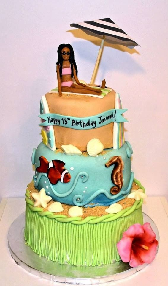 Beach Cake Hula Skirt Cake Underwater Ocean Cake Fondant People