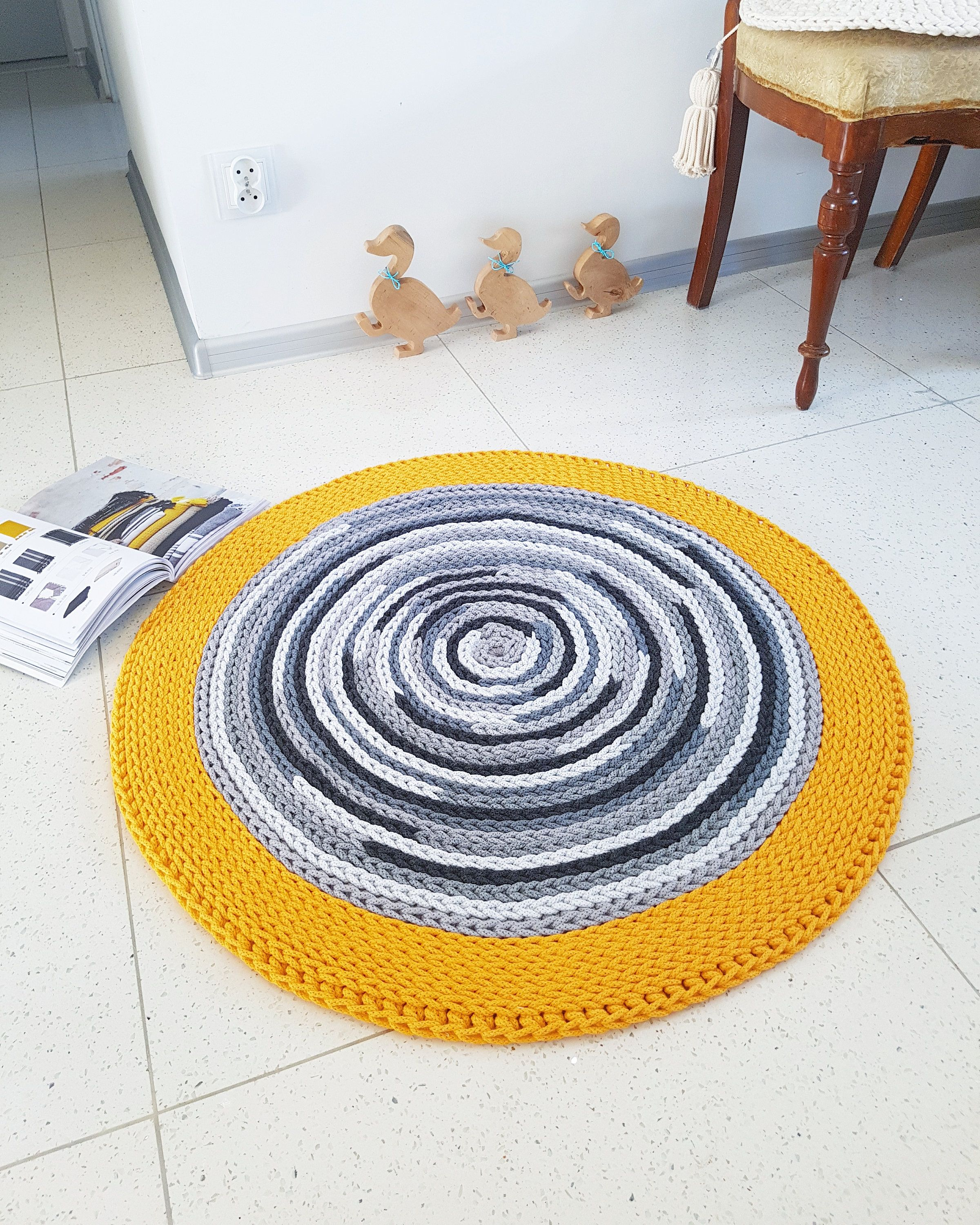 Handmade chunky gray round simple modern nursery crochet rug handmade chunky gray round simple modern nursery crochet rug washable natural cotton rug round bankloansurffo Choice Image