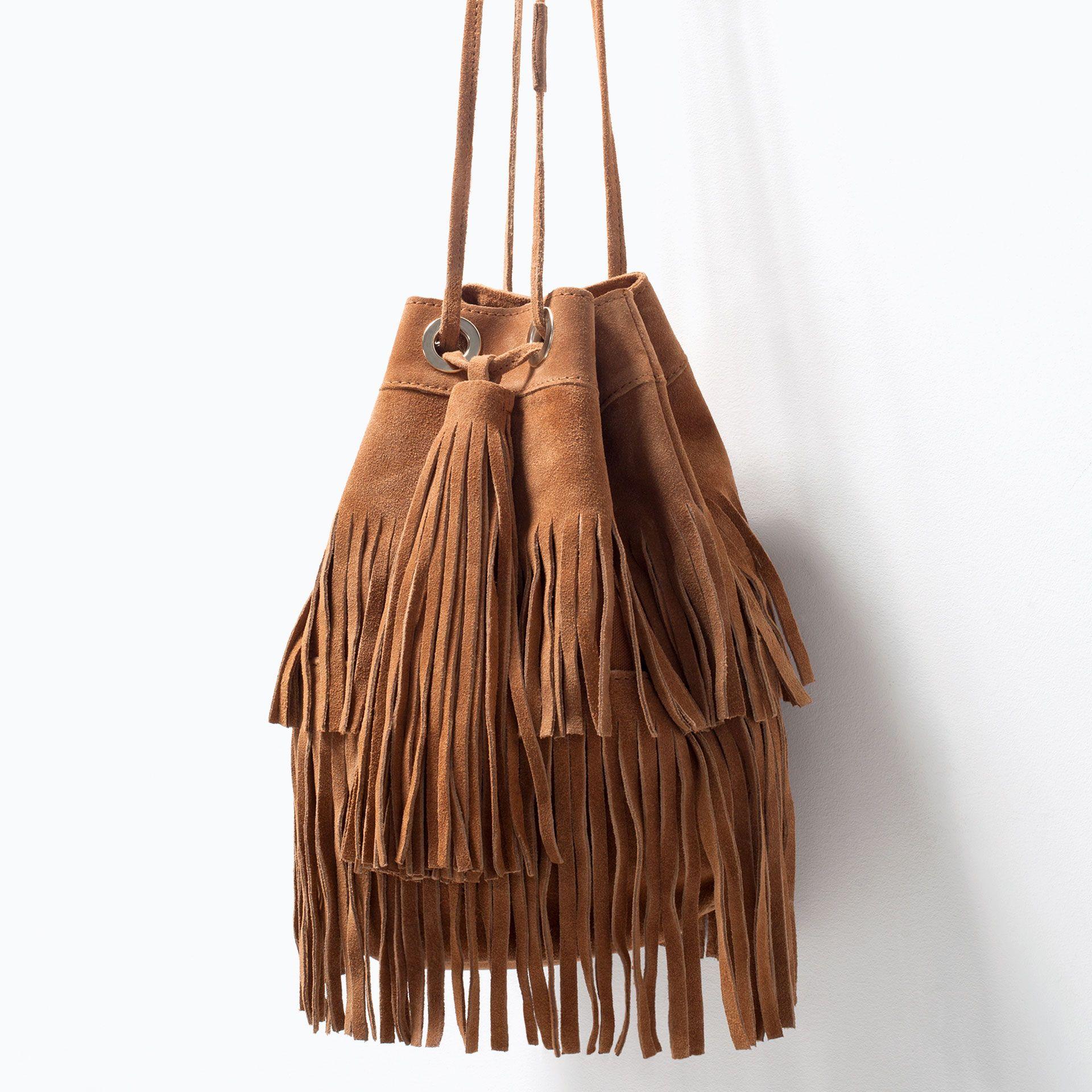 ZARA - WOMAN - FRINGED SUEDE BUCKET BAG | Dainty | Pinterest ...