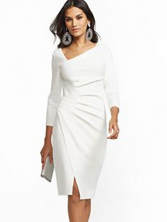 V-Neck Sheath Dress - 7th Avenue - New York & Comp