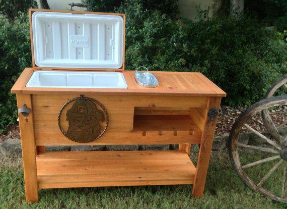 Rustic Cedar Cooler Ice Chest Sports Cooler By Rusticwoodworx Wooden Cooler Outdoor Cooler Pallet Crafts