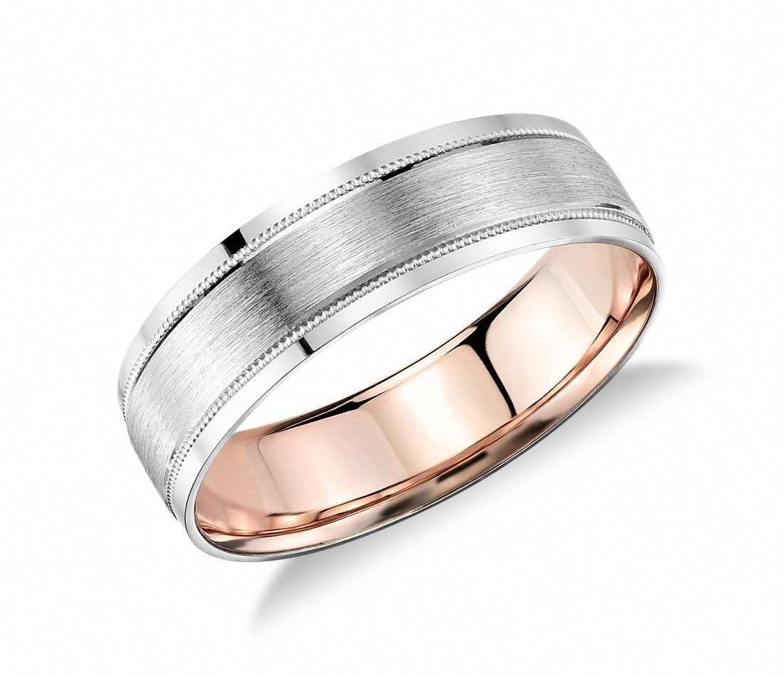 Milgrain Brushed Inlay Wedding Ring in Platinum and 18k