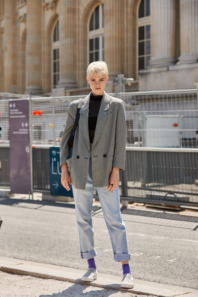 The Street Style Crowd Wore Plenty of Polka Dots at Paris Couture Week #mensstreetstylesummer