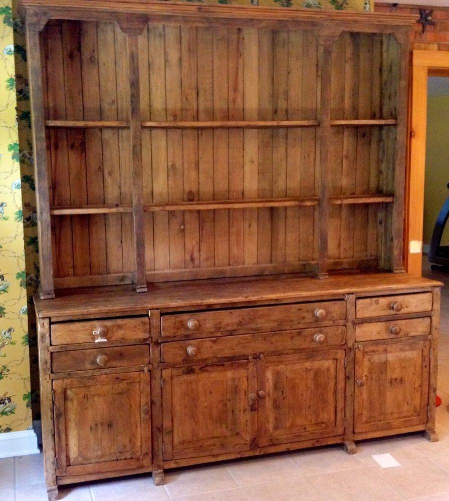 Antique Irish Provincial/Country Stepback Cupboard/Hutch - Antique Irish Provincial/Country Stepback Cupboard/Hutch