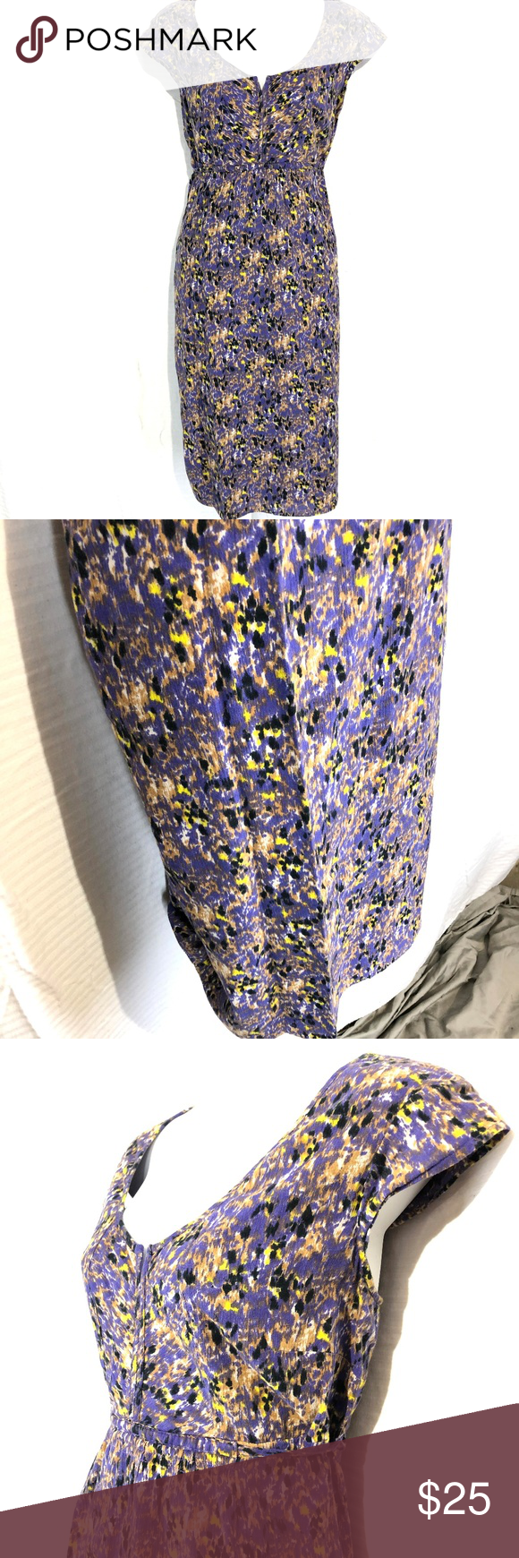 Eddie Bauer Purple Yellow Cotton Lined Dress 10 In 2020 Purple Yellow Purple Eddie Bauer