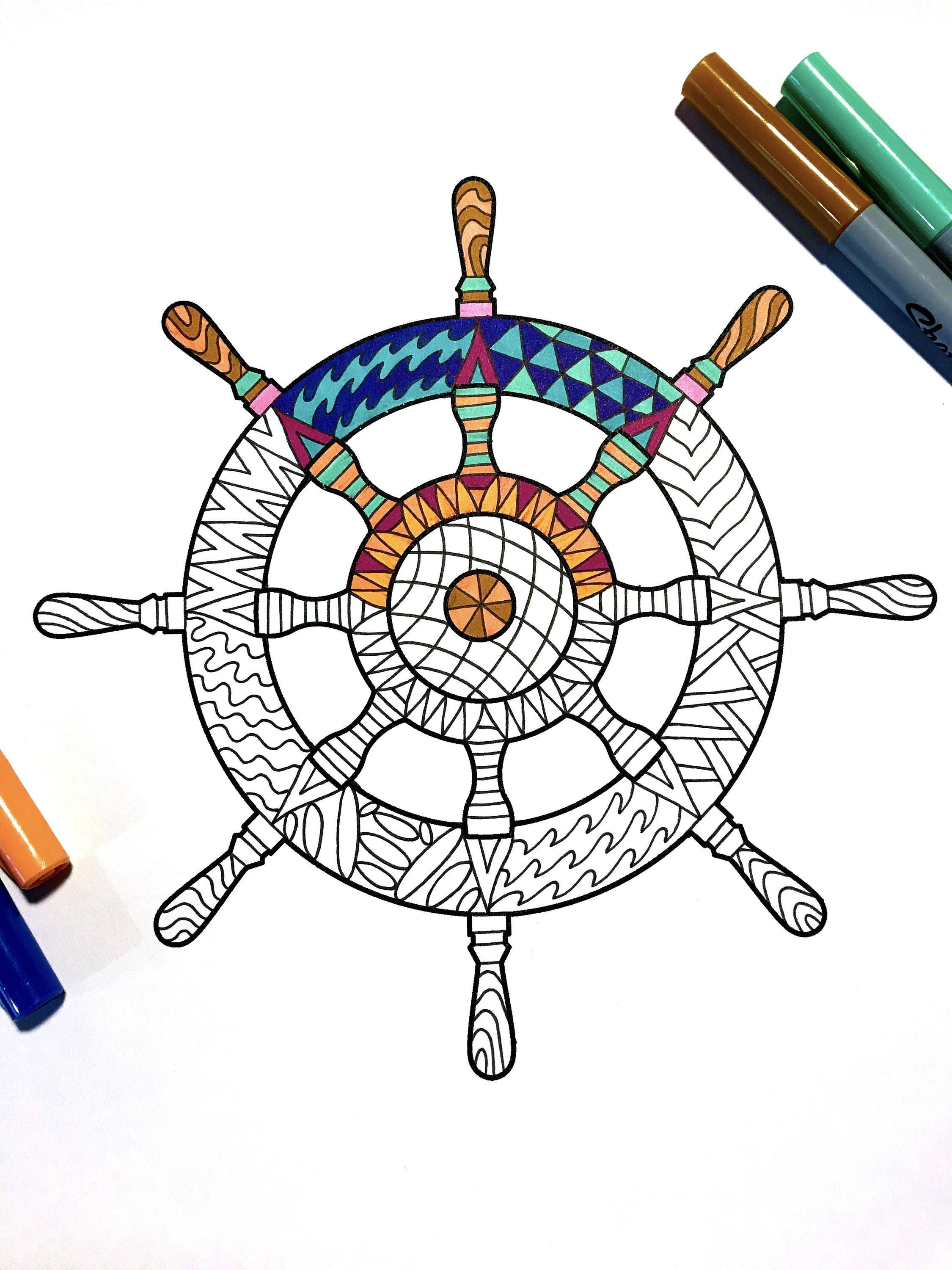 Ship Wheel Pdf Zentangle Coloring Page Emoji Coloring Pages