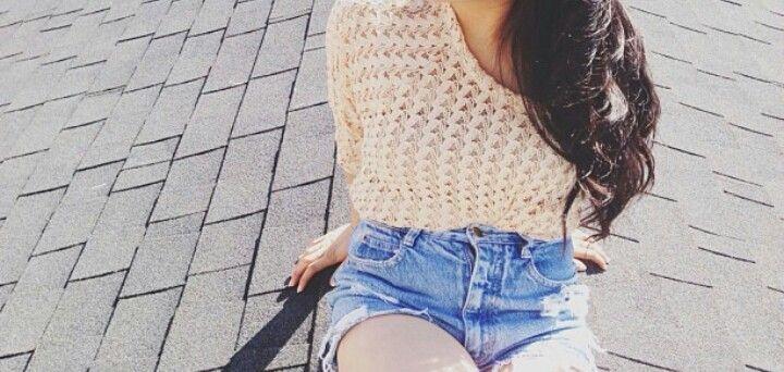 Pink crochet top. High waisted shorts