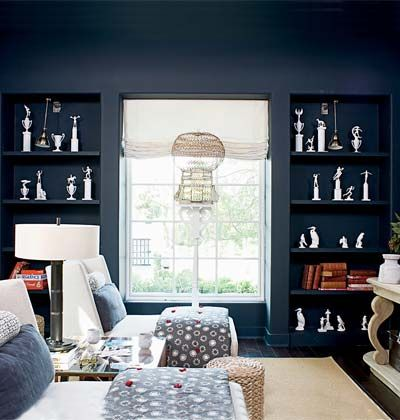 Black Paint Wall Color On The Built Ins Are Toned Down By Cream Gray Blue Silver Office E Colors