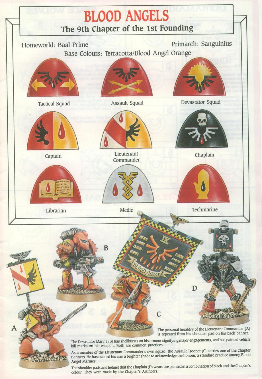 Some classic Blood Angel markings. Sort of in love with that Techmarine symbol.