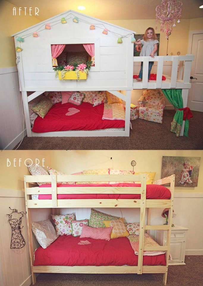 IKEA BED HACK My Ikea bed make over into a playhouse bed