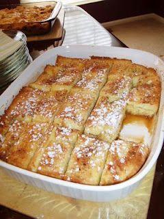French Toast Bake- texas toast, butter, sugar, eggs, milk, vanilla, powdered sugar (let sit overnight)