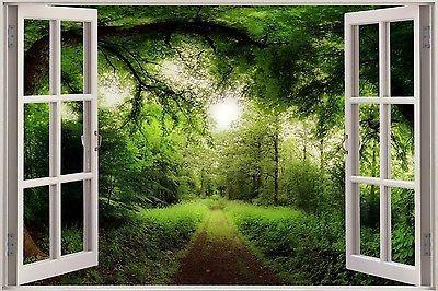 TREE SUN NATURE SCENE Wall Decal Sticker Vinyl Window View