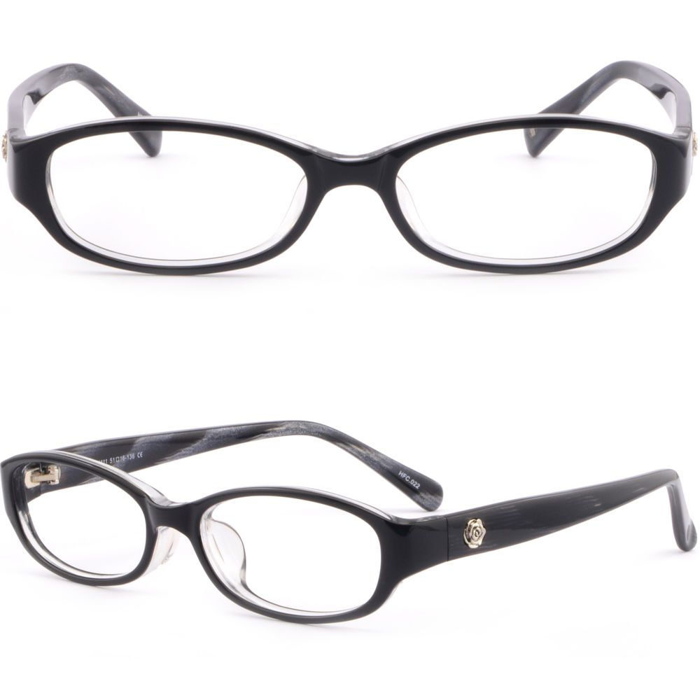 b30420db95 Women s Acetate Plastic Frames Flower Side Pieces Prescription Eye Glasses  Black  Unbranded