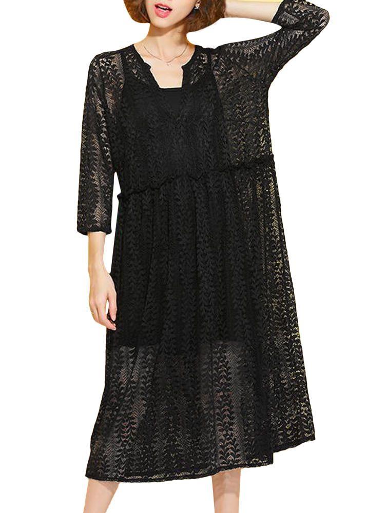 Us4381 Women Sexy Black V Neck Long Sleeve Loose Lace