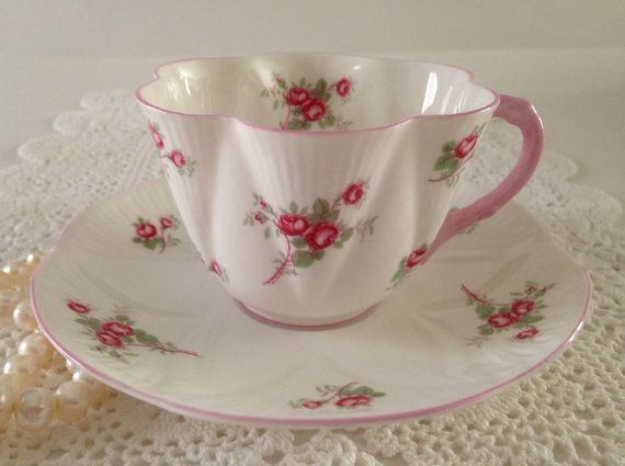 Shelley Dainty Bridal Rose Tea Cup & Saucer by NicerThanNewVintage