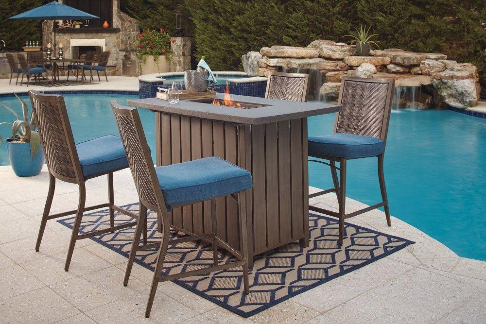 Partanna Blue Beige Bar Table Outdoor Furniture Sets