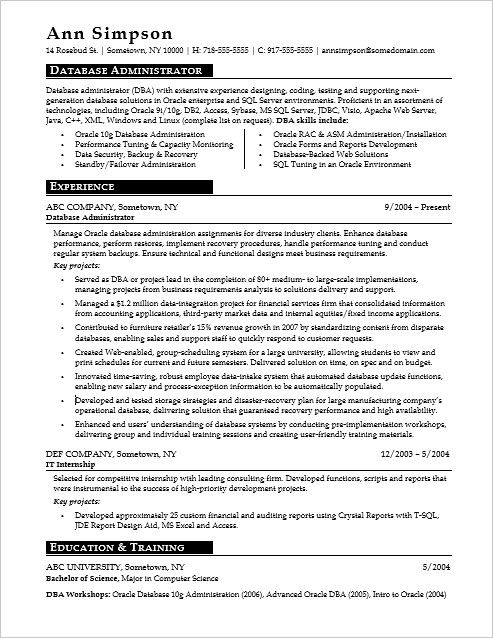Sample Resume For A Database Administrator Resume Examples Resume Sample Resume