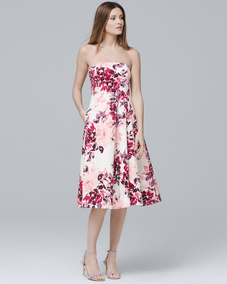 5f28728addd Women s Strapless Floral-Print Fit-and-Flare Midi Dress by White House Black  Market