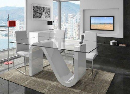 Mesa de comedor moderna con tapa de cristal templado, base lacada en ...