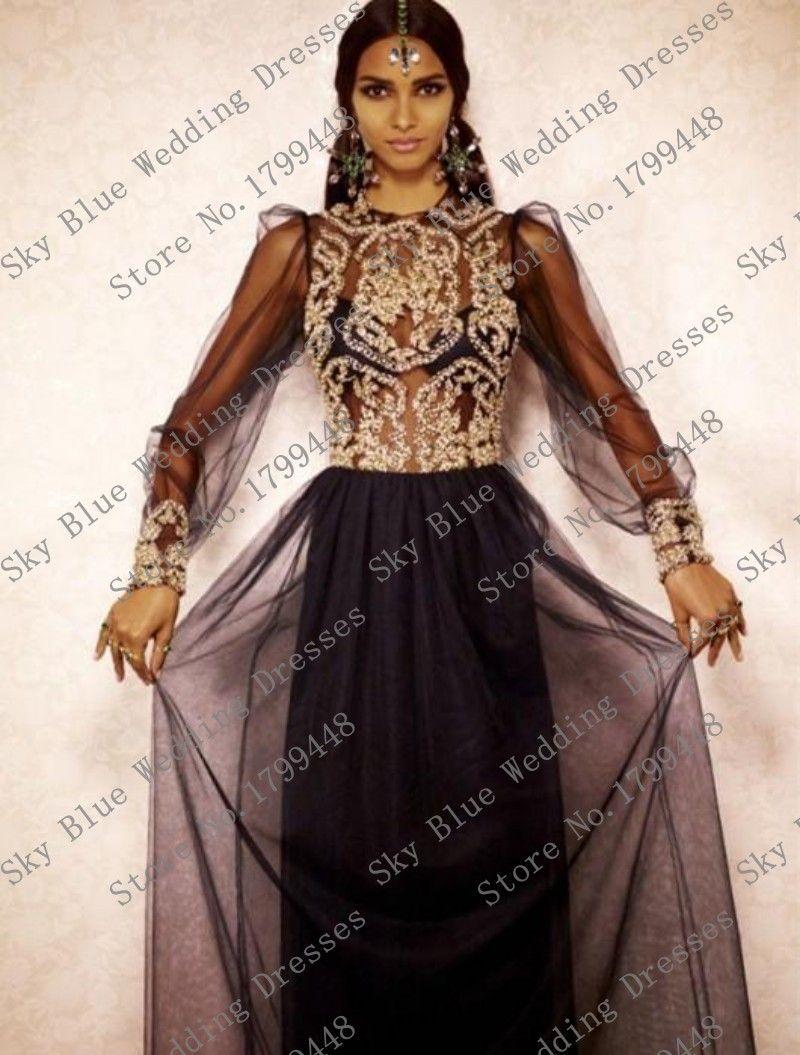 Elegant oneck beaded rhinestones long sleeve see through black