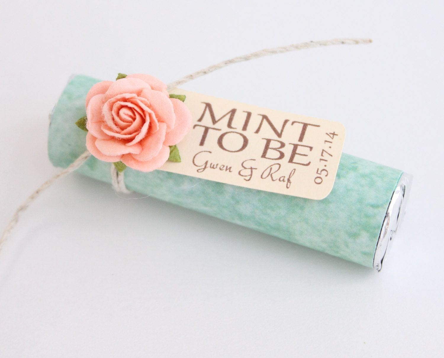 Mint Wedding Favors Set Of 24 Rolls To Be With Personalized Tag And Peach Green Light C