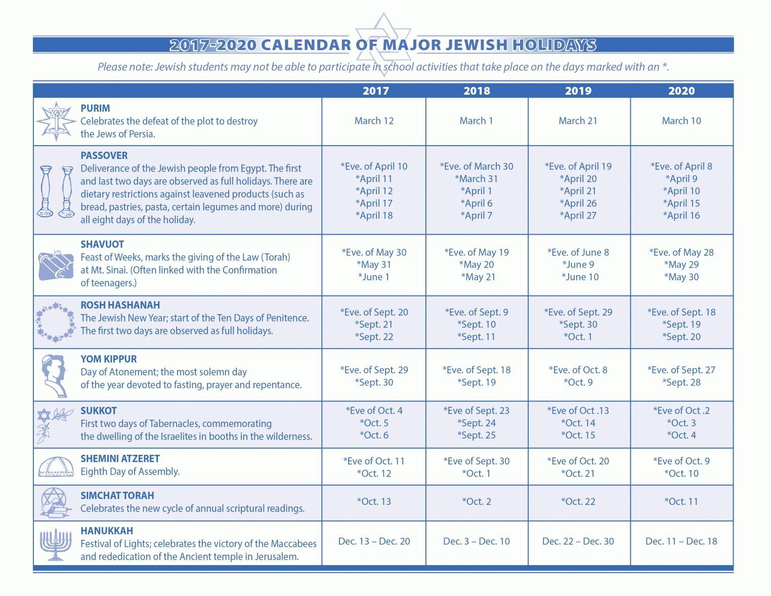Year Jewish Calendar 2019 Jewish Holiday Calendar Jewish