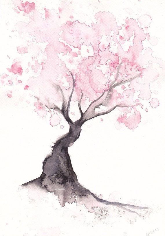 Japanese Cherry Blossom Tree Watercolours Watercolor Wall Art