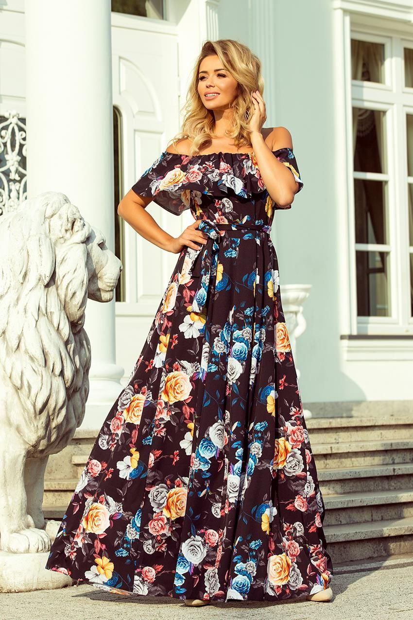 e370e19951 Sukienka Maxi w Stylu Hiszpańskim Czarna w Kolorowe Kwiaty NU194-3 w ...