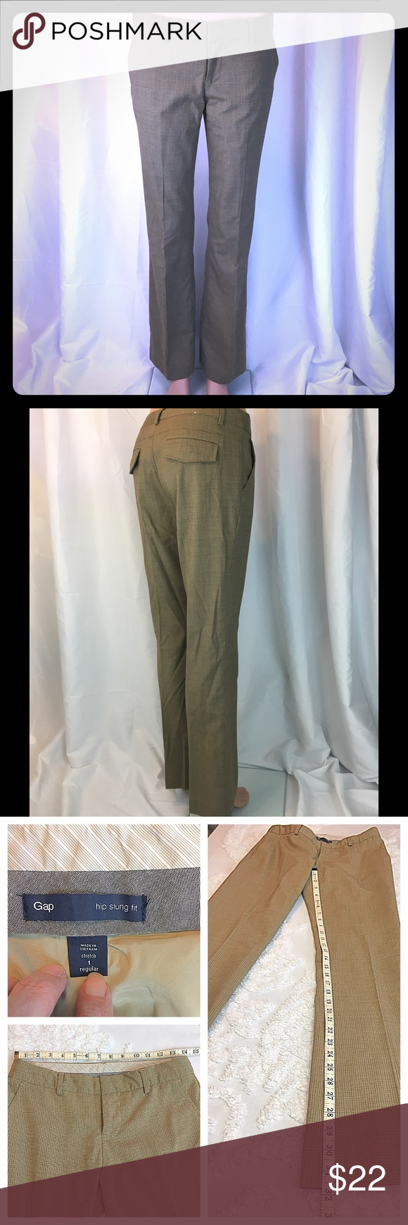 Pants Carmel rust houndstooth Gap Popular hip slung cut with slash side pockets. Excellent used condition. Great for work, small houndstooth print goes with lots of different style tops and colors. GAP Pants