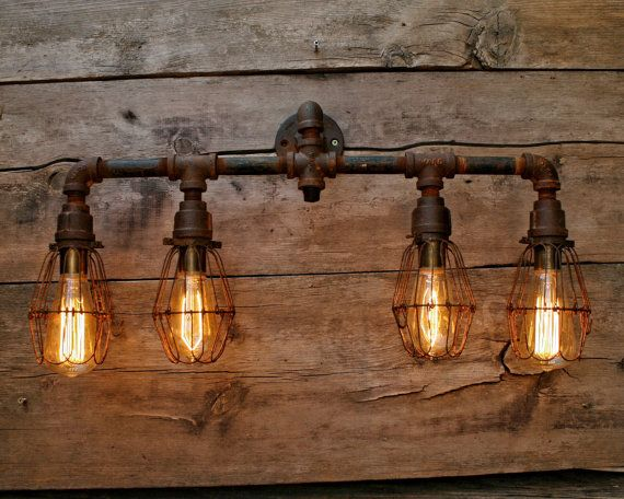 Vanity Light Wood Metal With Punched Tin Lamp Shades: Rustic Metal Pipe Bathroom Vanity