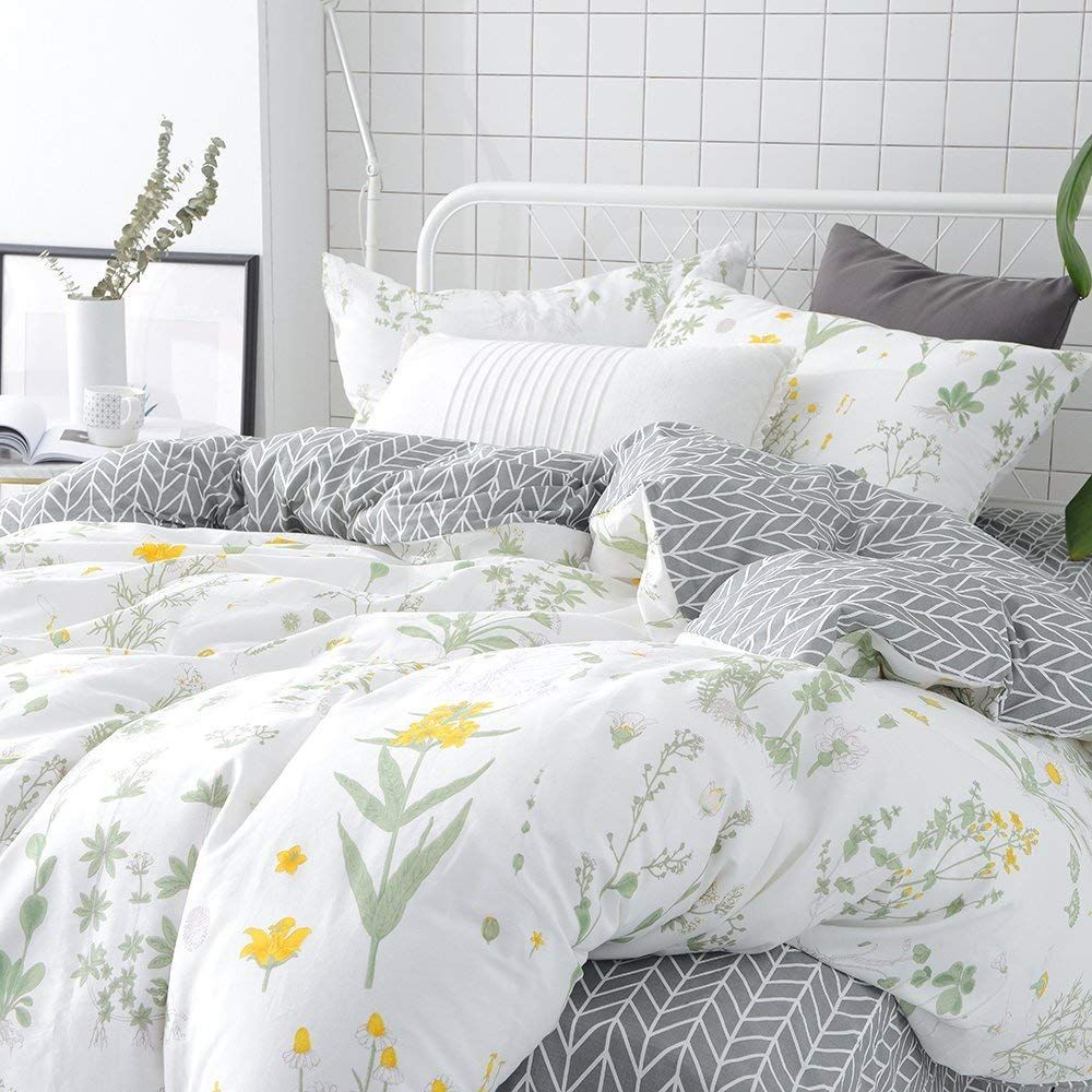 Vclife Floral Duvet Cover Sets Full Queen Bedding Sets White Yellow Flower Branches Design Bedding Duvet Cover Sets Duvet Cover Sets Remodel Bedroom Bed Design