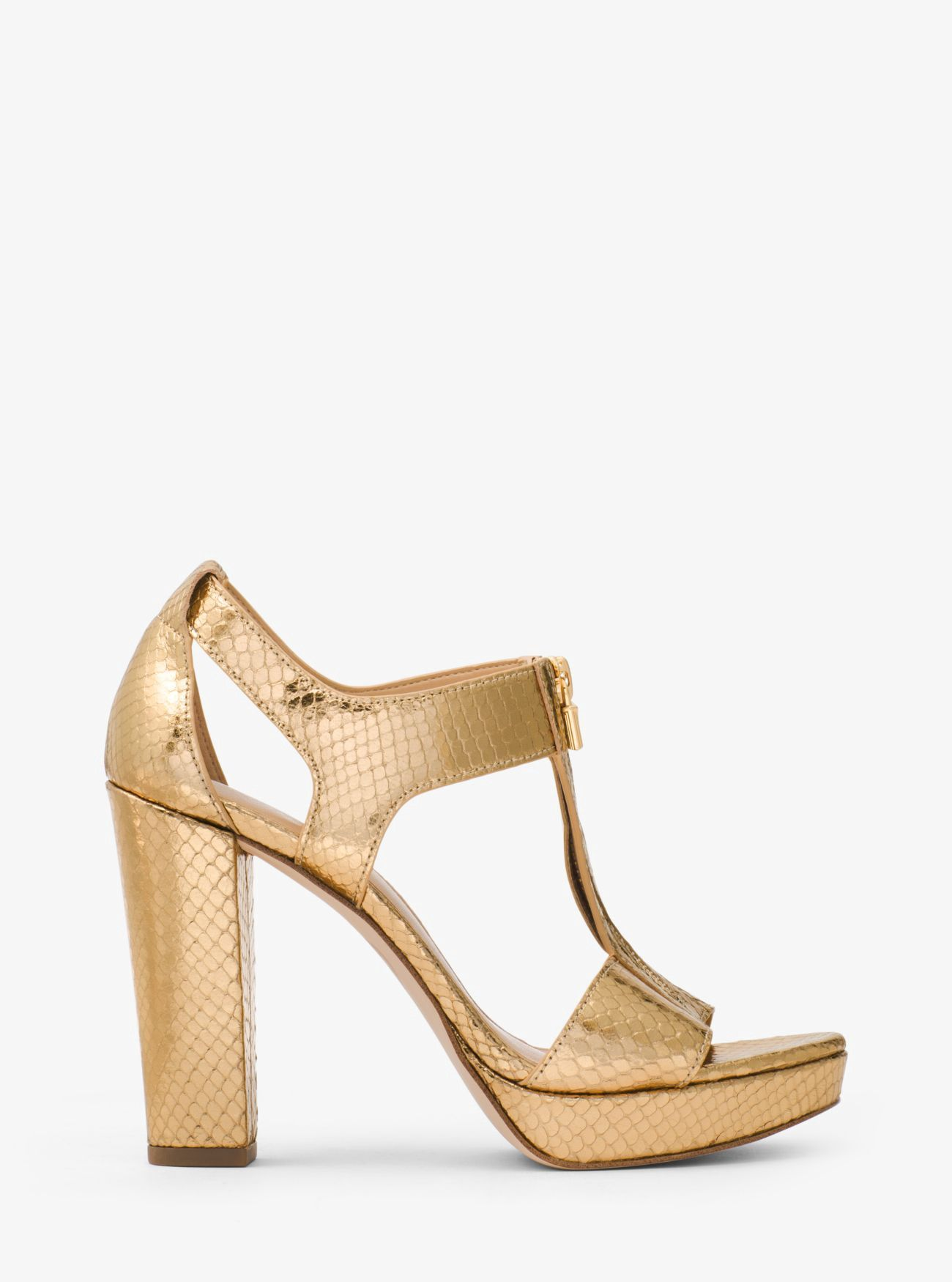 e3df035ea83 Michael Kors Berkley Lock Metallic Embossed-Leather Platform Sandal - Pale  Gold 8.5