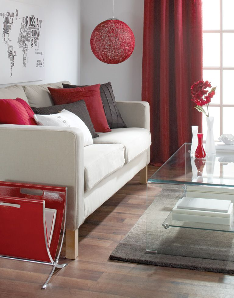 Bold Bright Red Decorating With Red White Brown For More Details Visit Www Bouclair Com Red Living Room Decor Brown Living Room Decor Living Room Red