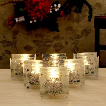 Simply Chic Glass T-Light Holder Transparent Set of Six Pieces